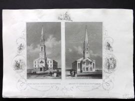 Hinton USA C1850 Antique Print. Baptist & Unitarian Church, Rhode Island